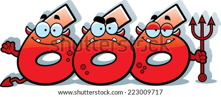 A cartoon illustration of the numbers 666 looking like devils. - stock vector