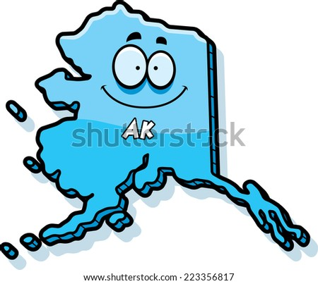 A cartoon illustration of the state of Alaska smiling. - stock vector