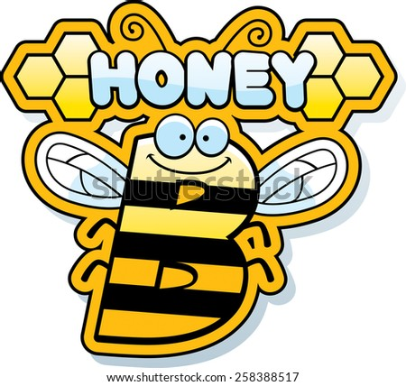 A cartoon illustration of the text Honey B with a bee theme. - stock vector