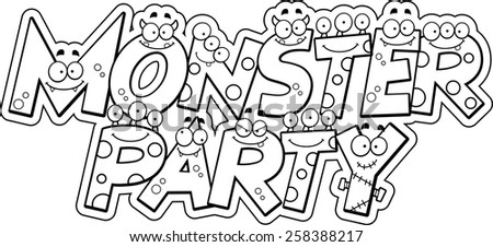 A cartoon illustration of the text Monster Party with a monster theme. - stock vector
