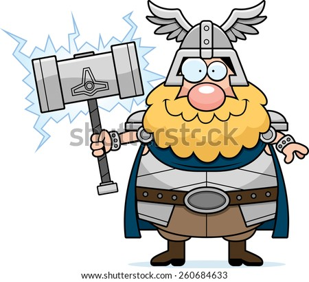 A cartoon illustration of Thor looking happy. - stock vector