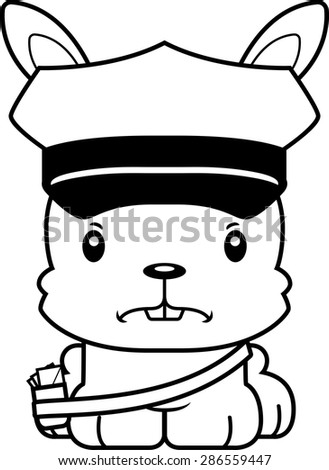 A cartoon mail carrier bunny looking angry. - stock vector