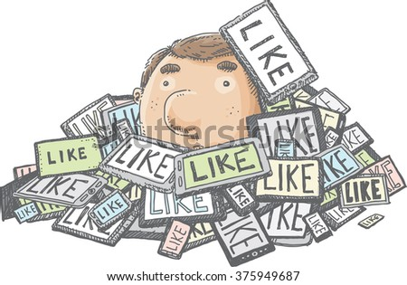 A cartoon man covered by a pile of tablet computers connected to social media. - stock vector