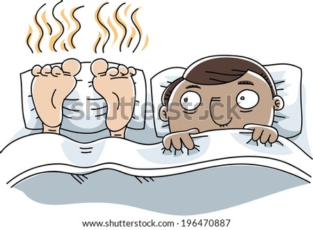 A cartoon man is unable to sleep because of the stinky feet next to him. - stock vector