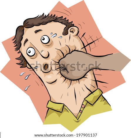 A cartoon man receives a strong punch in the face. - stock vector