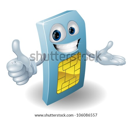 A cartoon mobile phone sim card man smiling - stock vector