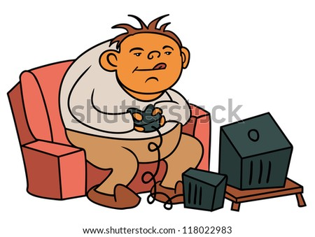 a cartoon of a gamer - stock vector