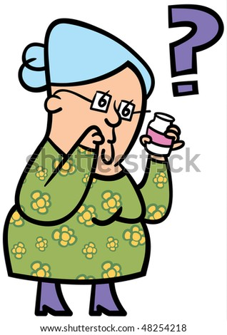 A cartoon of an elderly lady confused about her medication - stock vector