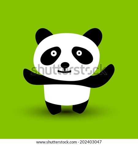 A cartoon panda ready to give a hug. Vector illustration. - stock vector