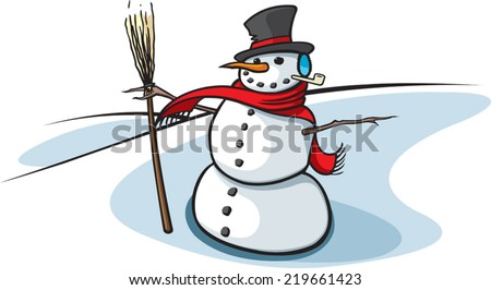 A cartoon snowman. Layered vector file available. Snowman with broom - stock vector
