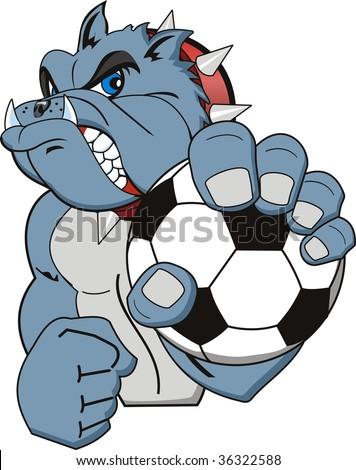 A Cartoon soccer bulldog. Vector - stock vector