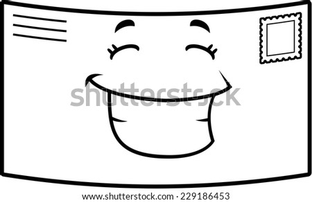 A cartoon stamped letter happy and smiling. - stock vector