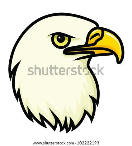 A cartoon vector drawing of a bald eagle's face. Vector. - stock vector