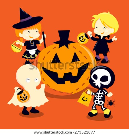 A cartoon vector illustration of a group of kids dressed up in halloween costumes going trick or tricking and a giant jack o lantern. - stock vector