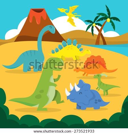 A cartoon vector illustration of a land of happy dinosaurs. - stock vector
