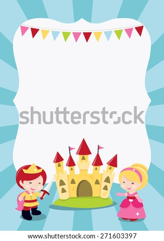 A cartoon vector illustration of a princesses, prince and knight party theme blank copy space. Ideal for party invitations, kids' poster and more.  - stock vector