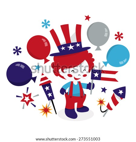 A cartoon vector illustration of cute americana patriotic clown kid waving a flags with balloons and firecrackers. - stock vector