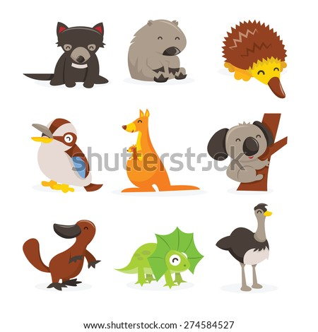 A cartoon vector illustration of cute and happy australian animals icon set like tasmanian devil, wombat, echidna, kookaburra, kangaroo, koala bar, platypus, frill neck lizard and emu. - stock vector