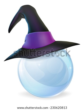 A cartoon witch hat on a crystal ball with copy space on the crystal ball. - stock vector