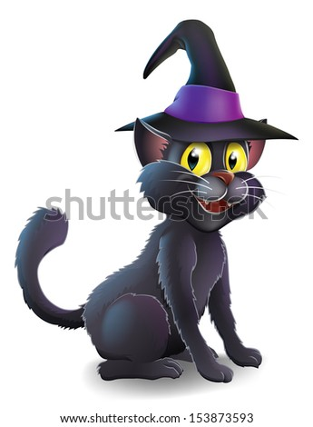 A cartoon witch's familiar black cat wearing a pointy witch's hat ready for Halloween - stock vector