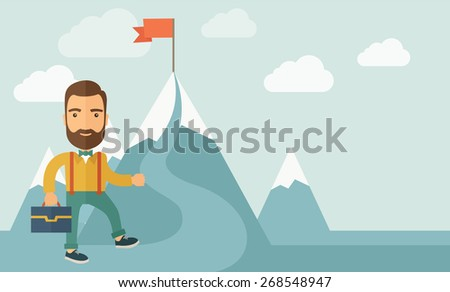 A Caucasian businessman holding his bag will climb up to top of the mountain to achieve success by holding the red flag. Willingness, leadership concept. A Contemporary style with pastel palette, soft - stock vector