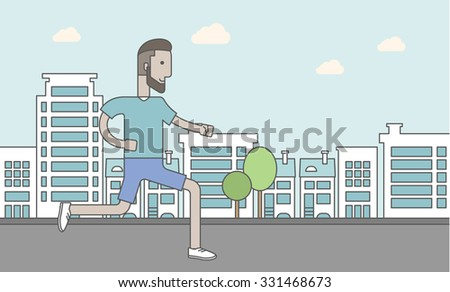 A caucasian hipster man with beard jogging on street. Vector line design illustration. Lifestyle concept. Horizontal layout with a text space for a social media post. - stock vector