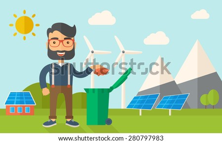 A caucasian man throwing a crumpled paper in a green garbage bin. A Contemporary style with pastel palette, soft blue tinted background with desaturated clouds. Vector flat design illustration - stock vector