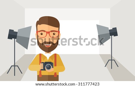 A Caucasian photographer smiling while inside the studio preparing the light and his camera to take a picture. A Contemporary style with pastel palette, soft grey tinted background. Vector flat design - stock vector