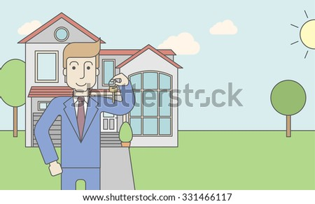 A caucasian real estate agent holding key on house background. Vector line design illustration. Horizontal layout with a text space for a social media post. - stock vector
