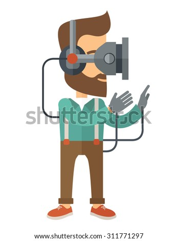 A caucasian wearing a virtual relaity headset. Vector flat design isolated on white background. - stock vector