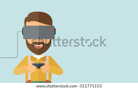 A caucasian wearing with virtual reality glass mask with remote control. A Contemporary style with pastel palette, soft blue tinted background. Vector flat design illustration. Horizontal layout with - stock vector