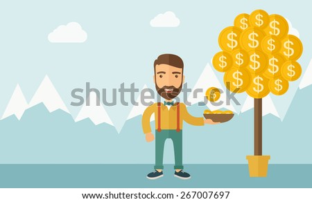 A Caucasian with beard man standing while catching a dollar coin from money tree. Dollar signs growing on branches and falling from tree. A contemporary style with pastel palette soft blue tinted - stock vector
