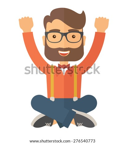 A Caucasian young man is happy raising his two hands. Successful concept. A contemporary style. Vector flat design illustration with isolated white background. Square layout.    - stock vector