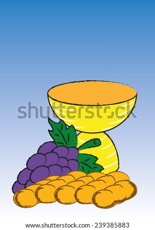 A chalice with bread and grapes - stock vector
