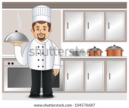 A chef with a tray of steaming cuisine in a kitchen - stock vector