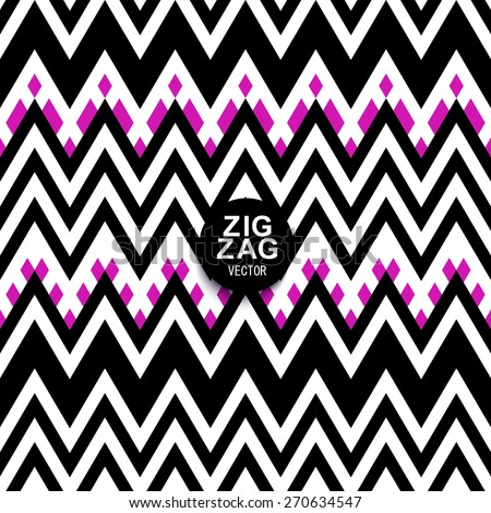 A chevron zigzag striped background pattern in teal black, pink and white. Stylish modern geometric motif. - stock vector