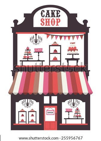A chic vector illustration of a vintage victorian double level cake shopfront with large window display. On the window display, there are cakes, cupcakes, desserts and pies. - stock vector
