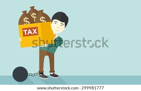 A chinese businessman locked in a debt ball in chain for committing crime in tax evasion. Debt concept. A Contemporary style with pastel palette, soft blue tinted background. Vector flat design - stock vector