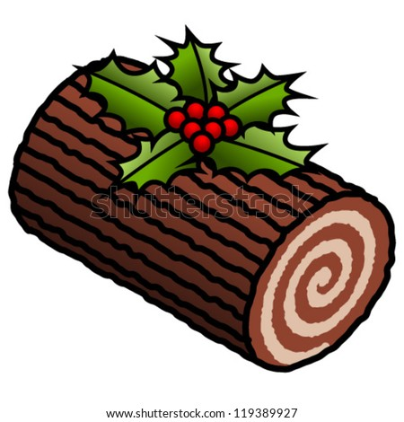Yule Log Fire Clip Art A chocolate yule log decorated