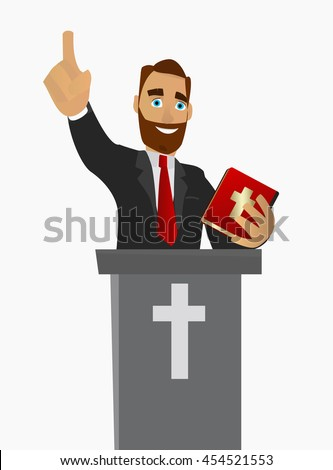 A Christian priest gave a sermon in a church in worship. Vector illustration on white background isolated. - stock vector