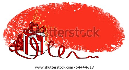 A Christmas card with a gift in a round box - stock vector