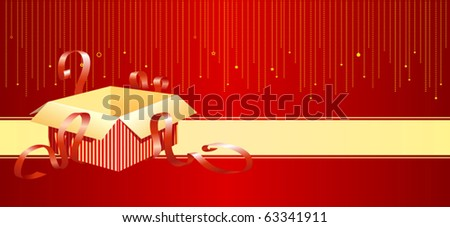 A christmas card with an open gift box - stock vector