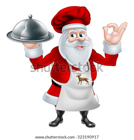 A Christmas cartoon illustration of chef or cook Santa Claus holding a silver platter and giving a perfect gesture - stock vector