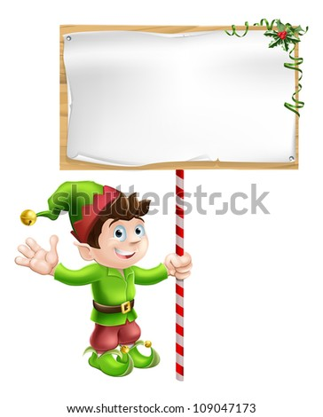 A Christmas elf or pixie or Santa's helper holding a large Christmas sign in traditional elf clothes - stock vector