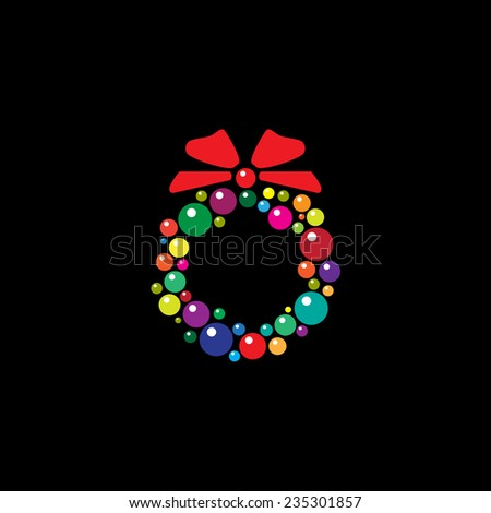A Christmas wreath made with baubles, isolated on black. EPS10 vector format - stock vector