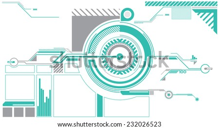 A circle based HUD vector graphic suitable for video games or movies. - stock vector
