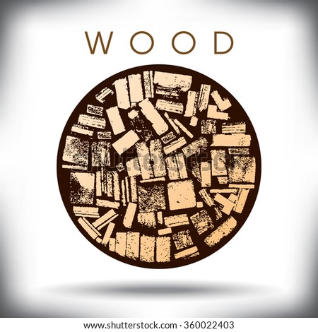 A circle of wood graphic - stock vector