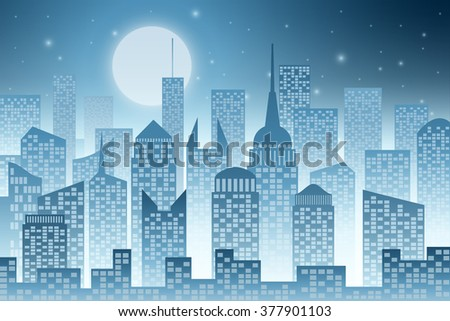 A Cityscape with Skyscrapers, Night Sky  and Moon - stock vector
