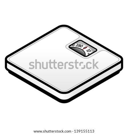 A classic square bathroom scales. - stock vector