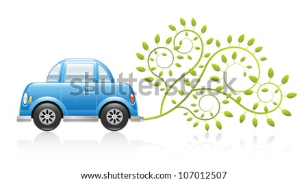 A clean and glossy illustration depicting an eco-friendly car concept. Eps 10 Vector. - stock vector